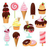 Pastries  cakes and ice cream icon set — Stock Vector