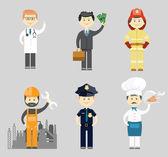 Professional men character icon vector set — Stock Vector