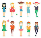 Smiling funny girls character set — Stock Vector