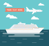 Cruise ship and plane travel poster design — Stock Vector