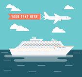 Afiş tasarımı seyahat, cruise gemi ve uçak — Stok Vektör