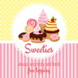 Greeting card template with sweets and candy — Stock Vector #50777755