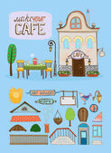 Cafe house illustration — Stock Vector