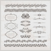 Page decoration borders  frames and hearts — Vettoriale Stock