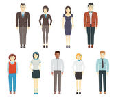 Set of young men and women wearing office clothes — Stock Vector