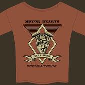 Motor Hearts Motorcycle Workshop — Stock Vector