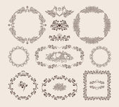Set of ornamental vector frames and badges — Stock Vector