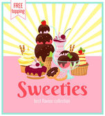 Sweeties retro poster design — Stock Vector
