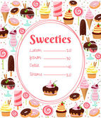 Sweets menu or price list template — Stock Vector