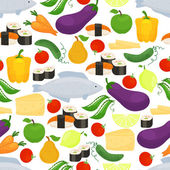 Healthy food seamless background pattern — Stock Vector