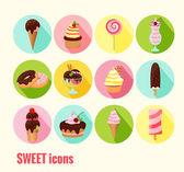 Kolekce sladké vektorových ikon — Stock vektor
