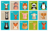 Vector icons of animals and pets in flat style — Stock Vector
