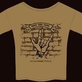 Music tee shirt template — Stock Vector