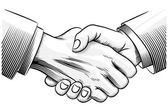 Esboçar o aperto de mão — Vetorial Stock