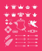 Pink decor with crowns — Stock Vector