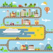 Vector Small Town Cityscape Illustration — Stock Vector