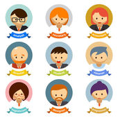 Office Cartoon Character Avatars with Ribbons — Stock Vector