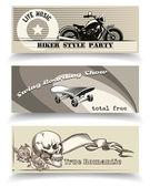Biker banners — Stock Vector
