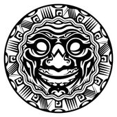 Round Vector Smiling Face Polynesian Tattoo — Stock Vector