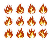 Vector Fire Flame Icon Set in Flat Style — Stock Vector