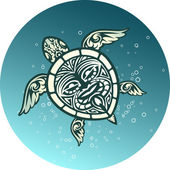 Swimming sea turtle with Polynesian tribal pattern — Stock Vector