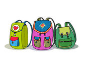 Three Vector Colorful Children Backpacks — Stock Vector