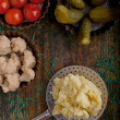 Stock Photo: Pickled vegetables and mashed potatoes