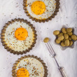 Stock Photo: Baked eggs in saucers
