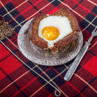 Stock Photo: Egg sandwich on vintage dish