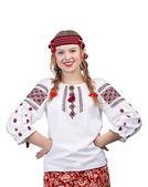 Ukrainian girl posing with hands on hips — Stock Photo