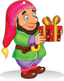 Gnome give a gift — Stock Photo
