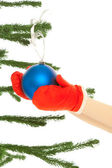 Woman's hands dressing christmas tree — Stock Photo