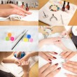 Collage of nail studio — Stock Photo