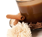 A cup of coffee and grated chocolate — Stock Photo