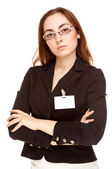Beautiful businesswoman in black jacket looking to the camera — Stok fotoğraf