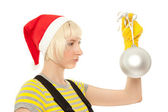 Blond woman with ball — Stock Photo