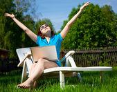 Woman enjoying the sun — Stock Photo