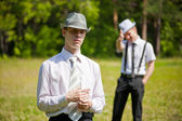 Picture of two man outdoors — Stock Photo