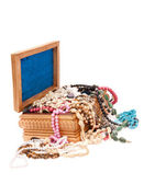 Wooden box with jewels — Stock Photo