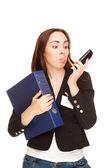 показываю язык на телефон secretry — Стоковое фото