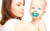 Picture of mother with adorable baby (focus on woman) — Stock Photo