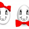 Funny eggs with red bows — Stock Photo