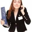 Businesswoman with folder calling by phone — Stock Photo