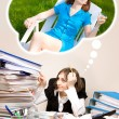 Stock Photo: Young secretary with a lot of folders dreaming of a summer