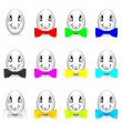 Funny eggs with colorful bow-tie — Stock Photo