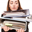 Young secretary in stressed with a ton of documents — Stock Photo
