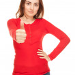 Picture of young woman showing thumbs up — Stock Photo