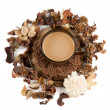 Stock Photo: Cup of coffee, grated chocolate and immortelle