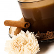 Stock Photo: Cup of coffee and grated chocolate