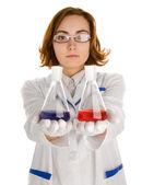 Iki şişe olan bilim adamı — Stok fotoğraf